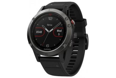 Часы Garmin Fenix 5 Серые, Черный ремешок
