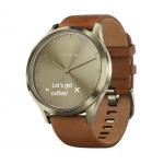 Часы Garmin Vivomove HR Premium (Золотые, Коричневый ремешок)