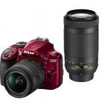 Фотоаппарат Nikon D3400 Kit с двумя объективами 18-55 VR и 70-300 Красный